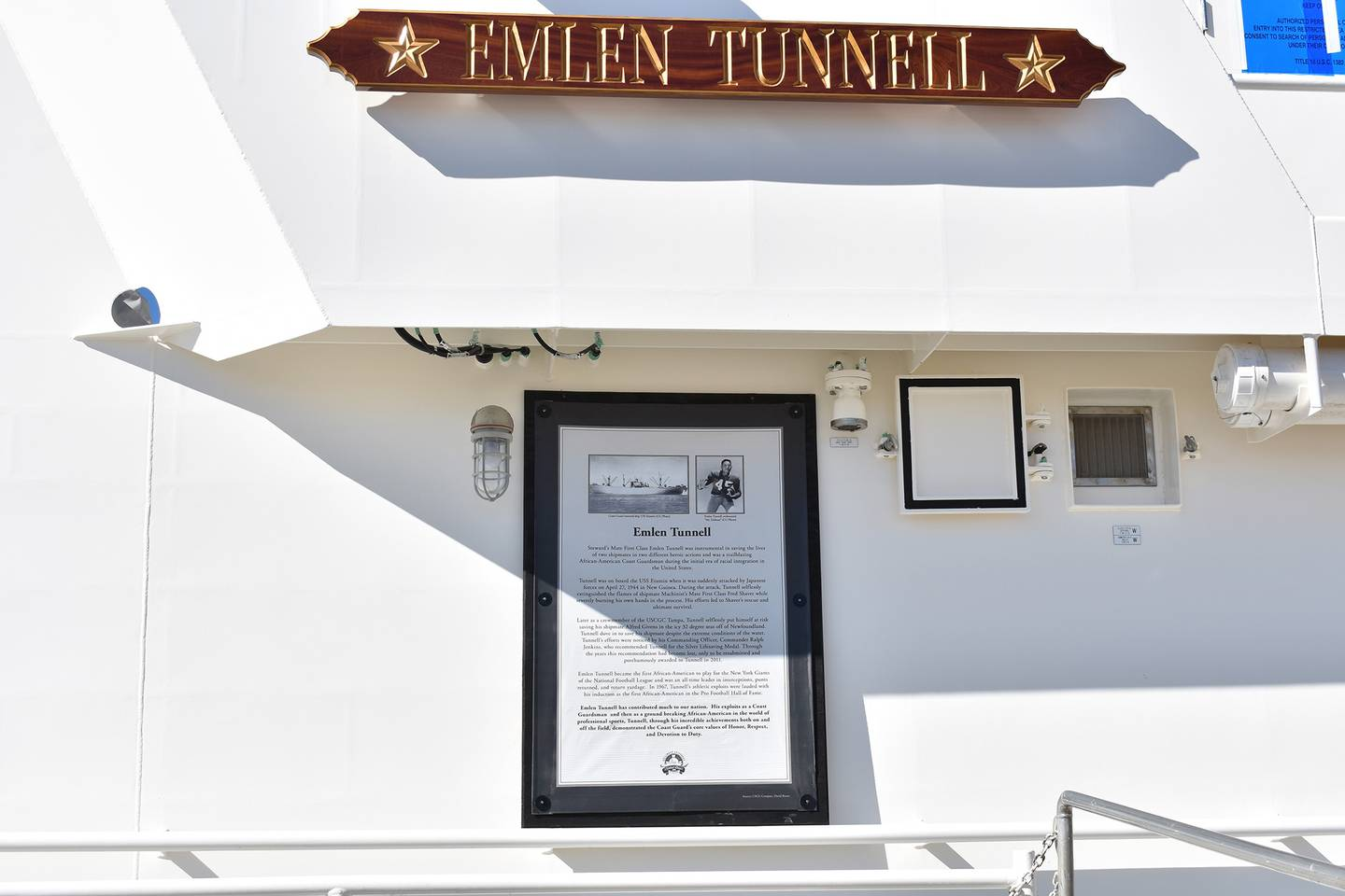 This undated photo provided by the United States Coast Guard shows a name plate and tribute plaque for Emlen Tunnell on a U.S. Coast Guard cutter docked in Bollinger Shipyard, Lockport, La.