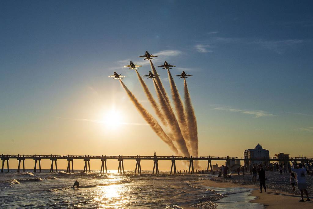 """The Blue Angels, the Navy's flight demonstration squadron, conducted the final flight on the F/A-18 A/B/C/D """"Legacy"""" Hornets over Pensacola, Fla., Nov. 4, 2020."""