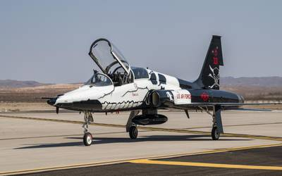 A T-38C Talon aircraft, the flagship of the 87th Flying Training Squadron, Laughlin Air Force Base, Texas, taxis after landing at Nellis AFB, Nevada, Sept. 24, 2021. The T-38C is a supersonic jet trainer aircraft primarily used for specialized undergraduate pilot training. (William Lewis/Air Force)