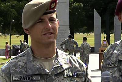 In this image from video provided by the U.S. Army, then-Sgt. 1st Class Thomas Payne is interviewed as a winner of the 2012 Best Ranger competition at Fort Benning, Ga., on April 16, 2012.