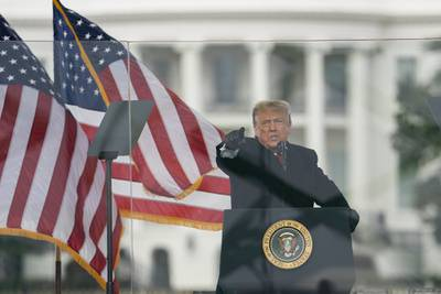 President Donald Trump speaks during a rally protesting the Electoral College certification of Joe Biden as President, Wednesday, Jan. 6, 2021, in Washington.
