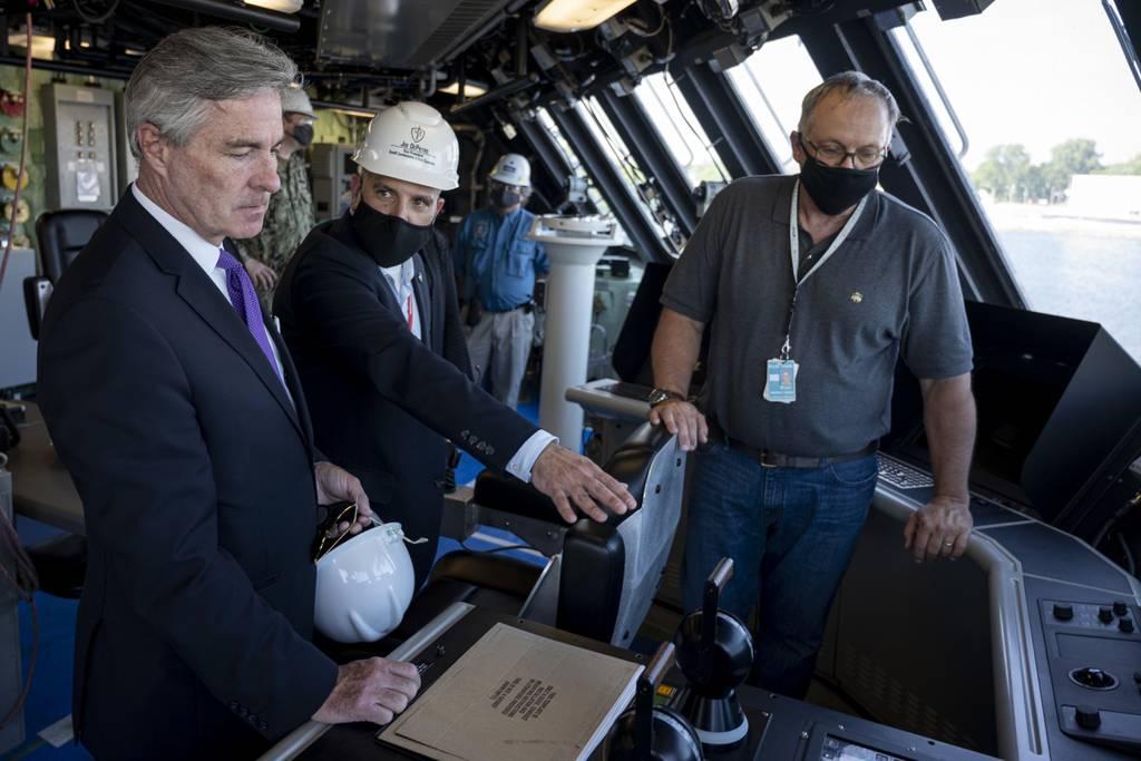 Secretary of the Navy Kenneth J. Braithwaite tours the Freedom-class littoral combat ship USS Minneapolis-Saint Paul (LCS-21) on July 8, 2020, at the Fincantieri Marinette Marine Shipyard in Wisconsin.