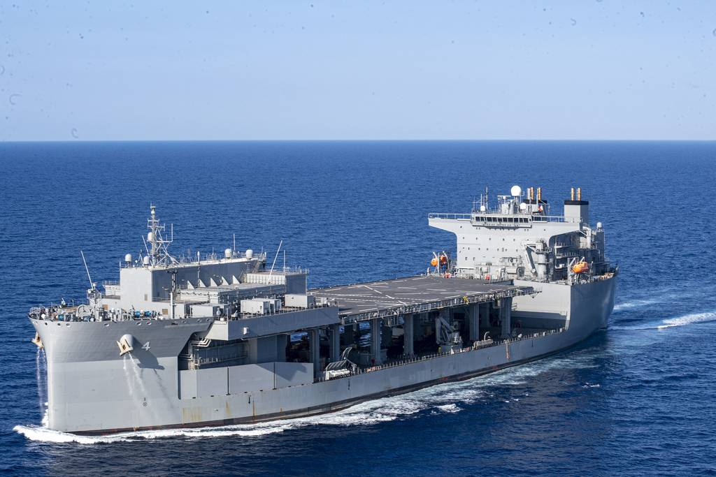 """The expeditionary sea base USS Hershel """"Woody"""" Williams (ESB 4) participates in a photo exercise in the Mediterranean Sea, Aug. 20, 2020."""