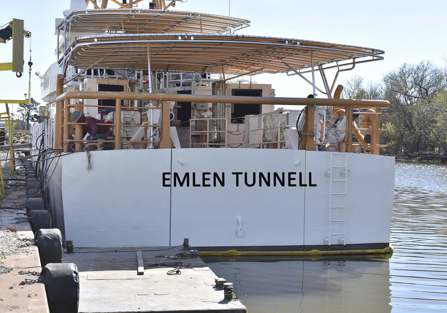 This undated photo provided by the United States Coast Guard shows a U.S. Coast Guard cutter named for Emlen Tunnell, docked in Bollinger Shipyard, in Lockport, La.