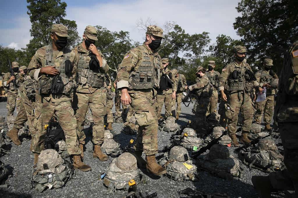 Cadets wear masks during training, Friday, Aug. 7, 2020, in West Point, N.Y.