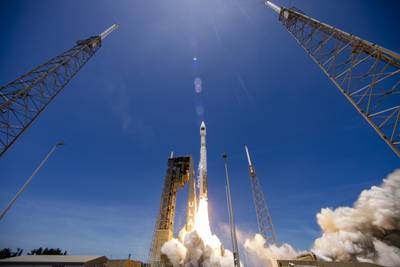 A United Launch Alliance (ULA) Atlas V rocket carrying the SBIRS GEO Flight 5 mission for the U.S Space Force's Space and Missile Systems Center lifts off from Space Launch Complex-41 on May 18, 2021. (United Launch Alliance)