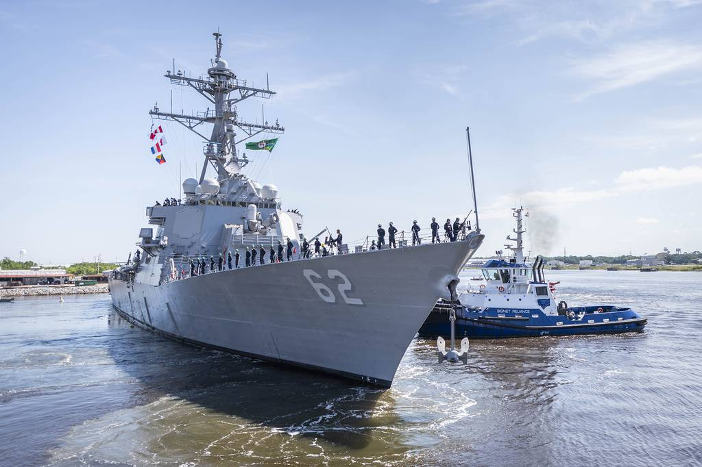 The repaired and modernized U.S. warship Fitzgerald departed Huntington Ingalls Industries, Ingalls Shipbuilding division's Mississippi shipyard on June 13, 2020, en route for its new home port of San Diego.