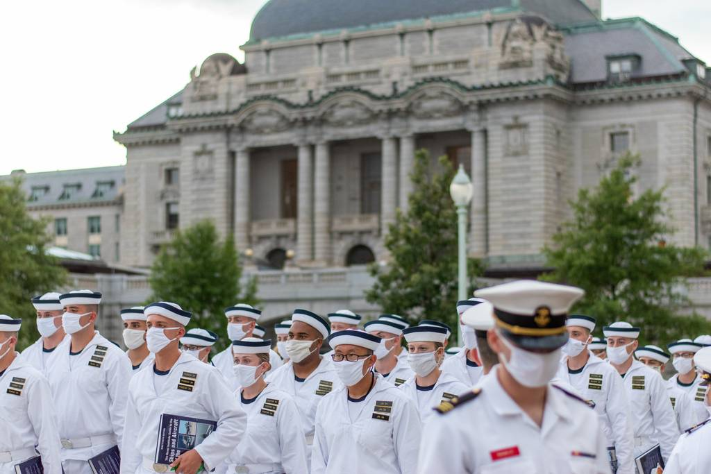 Second set detailers take over the training of Midshipmen 4th Class, or plebes, on Aug. 1, 20202, at the United States Naval Academy, marking the halfway point of Plebe Summer, a demanding indoctrination period intended to transition the candidates from civilian to military life.
