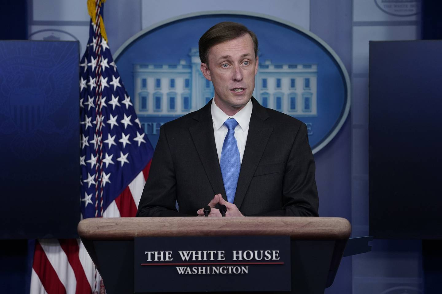 National security adviser Jake Sullivan speaks during a press briefing at the White House on Feb. 4, 2021, in Washington.