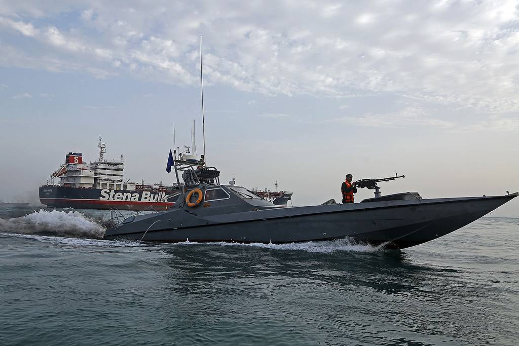 Iran's Revolutionary Guard patrols around the British-flagged tanker Stena Impero on July 21, 2019, as it was anchored off the Iranian port city of Bandar Abbas.