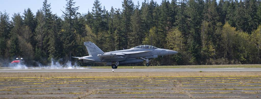 An EA-18G Growler lands April 9, 2019, during a field carrier landing practice at an outlying landing field attached to Naval Air Station Whidbey Island, Wash.