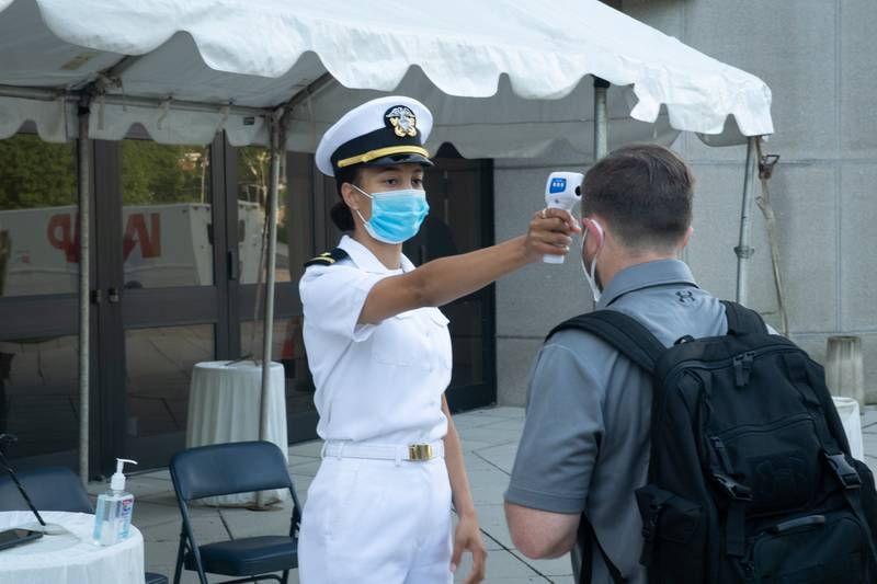 The United States Naval Academy welcomes the incoming 4th class midshipmen, or plebes, of the Class of 2024 on July 1, 2020, during a four-day induction process due to restrictions set forth by the COVID-19 pandemic for this 2020 year.