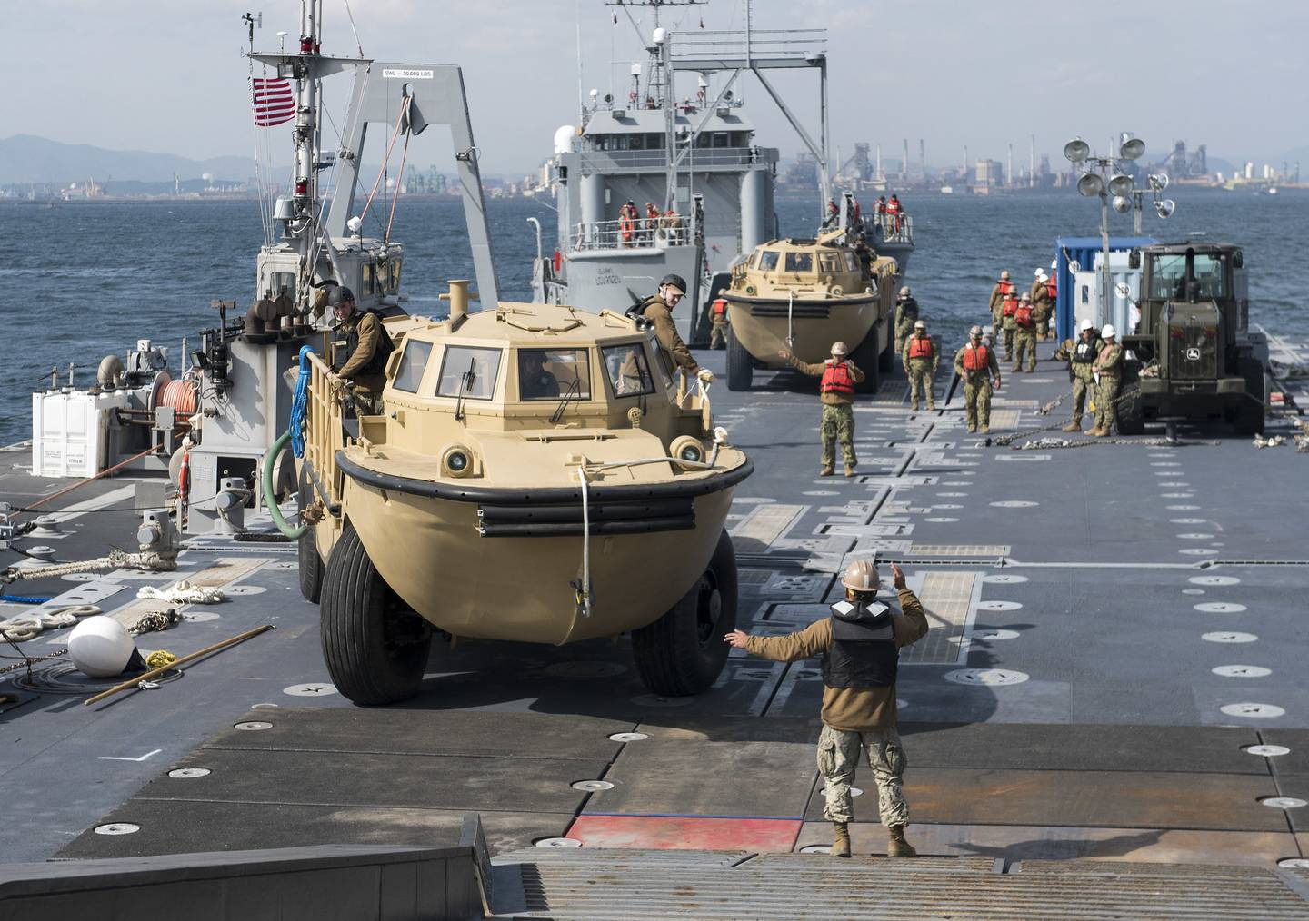 U.S. Navy, Marine Corps and Army personnel offload equipment from the Military Sealift Command maritime prepositioning force ship USNS Pililaau (T-AK 304) on April 10, 2017, in Pohang, South Korea.