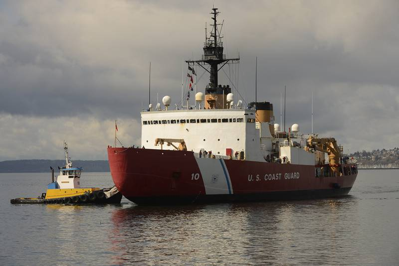 The crew of Coast Guard Cutter Polar Star makes the final approach to moorings at Base Seattle on March 25, 2020.