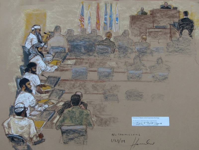 A sketch of a hearing at the U.S. Military Commissions court for war crimes at the U.S. Naval Base in Guantanamo Bay, Cuba.