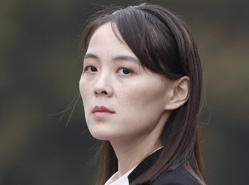In this March 2, 2019, file photo, Kim Yo Jong, sister of North Korea's leader Kim Jong Un attends a wreath-laying ceremony at Ho Chi Minh Mausoleum in Hanoi, Vietnam.