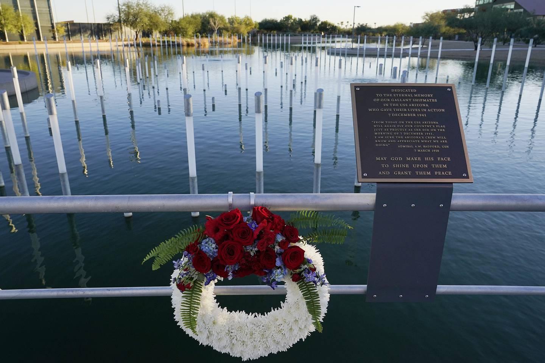 A Veterans Day wreath was left Nov. 11, 2020, in Scottsdale, Ariz., at the USS Arizona Memorial Gardens.