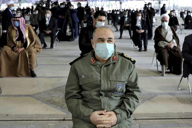 Chief of Iran's Revolutionary Guard Gen. Hossein Salami attends a ceremony on the first anniversary of the death of Gen. Qassem Soleimani, in Tehran, Iran, Friday, Jan. 1, 2021.